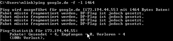 Ping www.google.de -f -l 1464