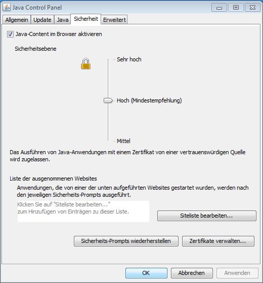 Java Sicherheitseinstellungen