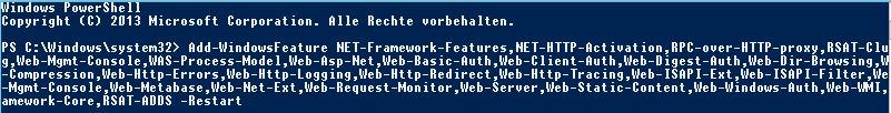 Add-WindowFeature Befehl